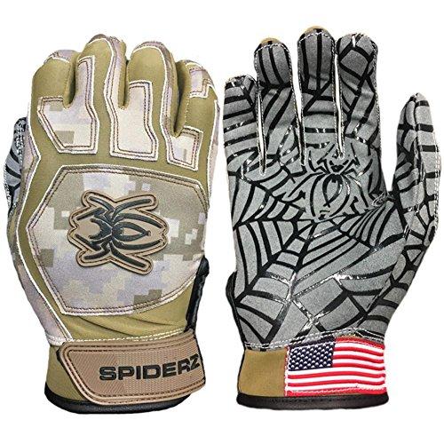 Wood Bat Baseball Combat (Spiderz Web Baseball Batting Glove with Silicone Spider Web Palm (Combat Camo, Adult Large))
