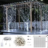 Cascading Icicle Lights,Y&M(TM)3M x 3M Festival Warm White Curtain Icicle Christmas Lights,Wedding Lights Curtain,Party lights for Holiday,Party,Outdoor Wall,Bathroom,Window,Wedding Decorations (white)