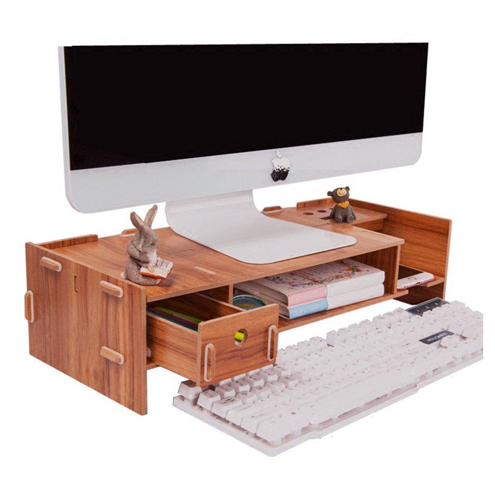 MineDecor Wood Desk Organizer with Drawer Trays Office Desktop Organizers Computer Holder Monitor Stand Riser Laptop Cellphone Printer Stand, Brown
