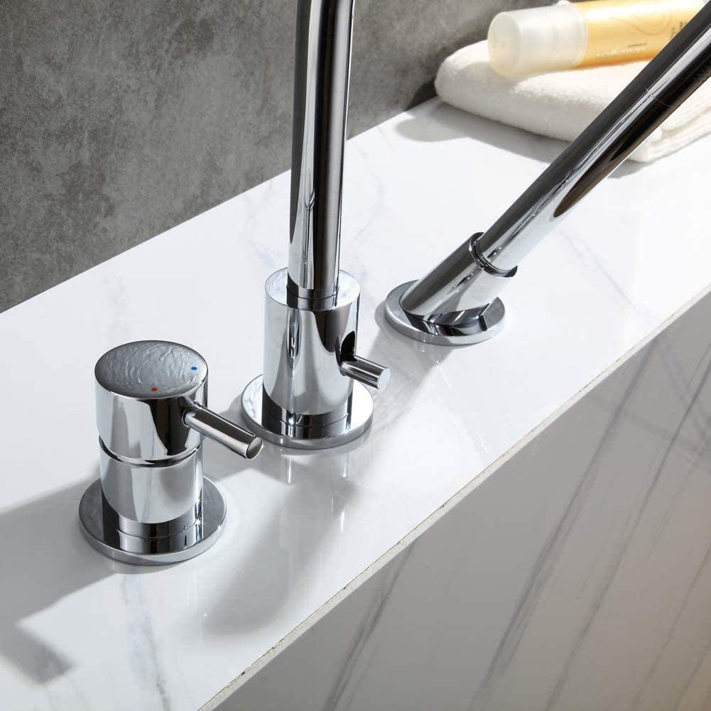 BFDMY DREI Loch Badewanne Wasserhahn Handbrause Badewannenarmatur Wannenarmatur Verchromt Mischbatterie Bad Waschbecken Messing hei/ßes und kaltes Wasser Badarmatur,Chromefaucet