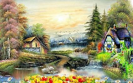 Glowvia Beautiful Village Scenery Wall Paiting Fabric 24 X18
