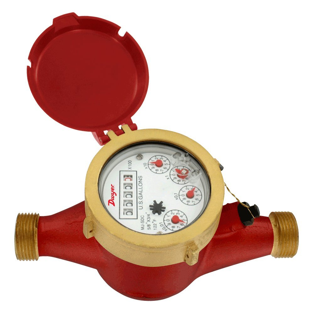 Dwyer Multi-Jet Hot Water Meter, High Temp Threshold, WMH-A-C-02-1, Pipe Size 5/8'' x 3/4'', 1 Gal Pulsed Output