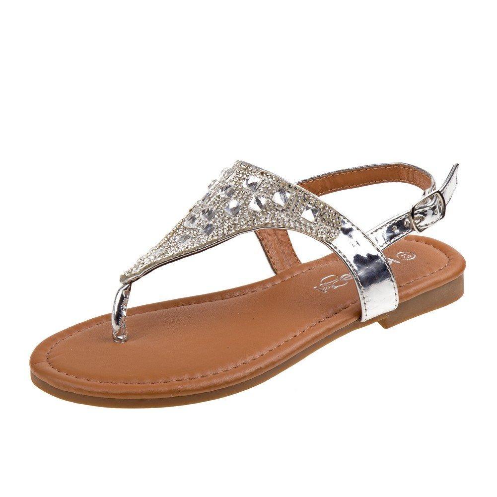Kensie Girl Silver Stone Encrusted Buckle Flip Flop Sandals 11-4 Kids