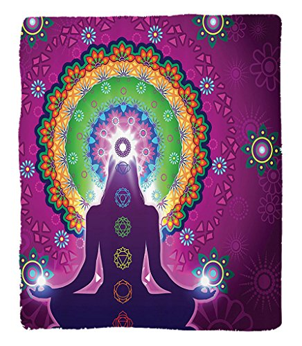 Chaoran 1 Fleece Blanket on Amazon Super Silky Soft All Season Super Plush Mala Decor Collection Meditating Woman with a Macro Mala Lotus on Her Head Yoga Theme Chakra Image Fabric et Purple by chaoran