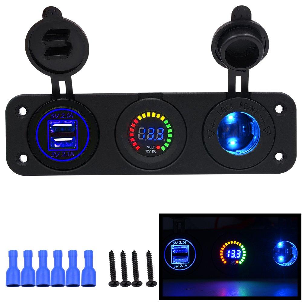 Kriogor Auto Moto Triple 4.1/A Caricatore USB accendisigari LED voltmetro 12/V//24/V Presa accendisigari Tre Fori Pannello con Caricatore voltmetro