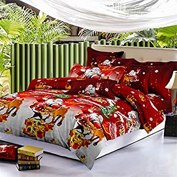 Jessy Home Christmas Bedding Sets King Size,Bed Sheet + Duvet Cover + Pillowcase,Christmas Decoration
