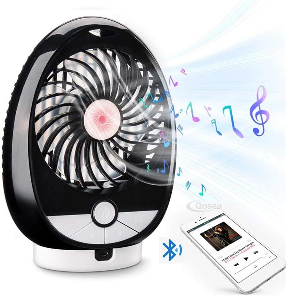 WMC Multifunzione Ventilatore Altoparlante del Bluetooth, Portatile Ventilatore USB 2 in 1 Ventilatore da Tavolino 3 Livelli Regolabili di Sostegno Carta di TF C