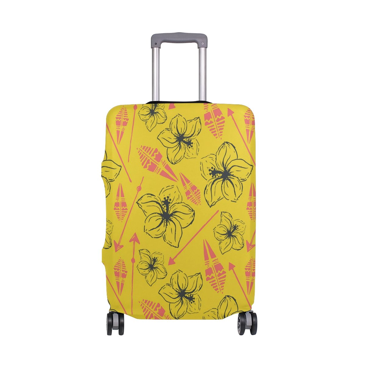 LORVIES Universal Summer Hawaiian Flower Print Travel Luggage Protective Covers Washable Spandex Baggage Suitcase Cover - Fits 18-32 Inch