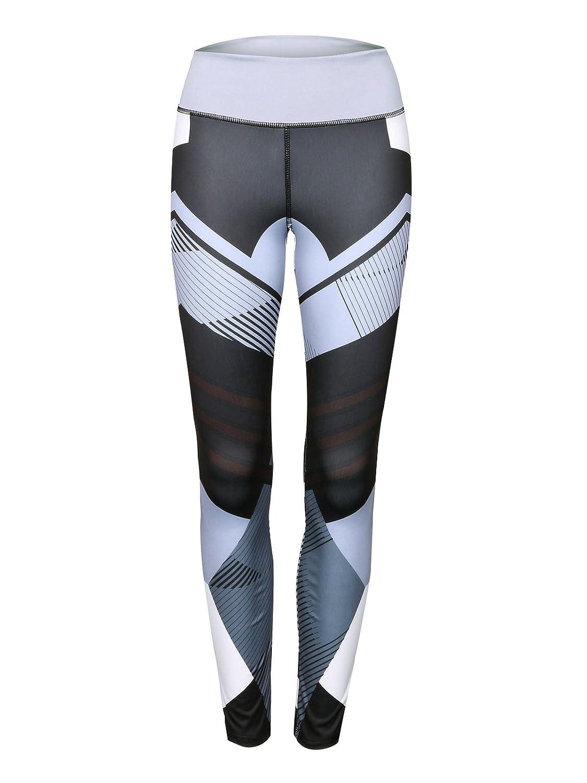 LANTHE High Waist Yoga Pants Tummy Control Workout Pants for Women Yoga Leggings New Geometry Print