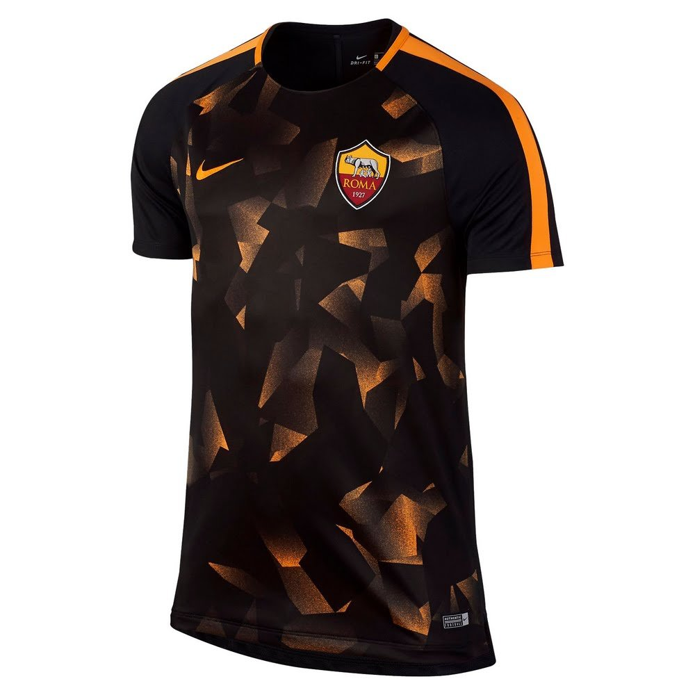 Nike 2017-2018 AS Roma Pre-Match Training Football Soccer T-Shirt Trikot (schwarz)