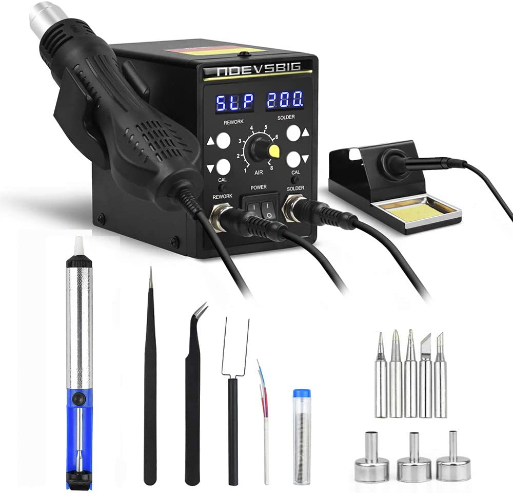 2 in 1 Rework Soldering Station Kit with Heating Core Replacement,Digital Display SMD Solder Workstation and Hot Air Desoldering-Gun Welding LCD Rework Station,700W 480℃