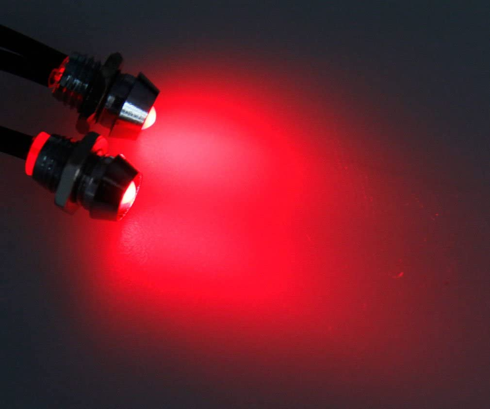 2pcs 0.31inch Car Panel Indicator Lamp Warning Light 12V Green LED Metal Truck Van