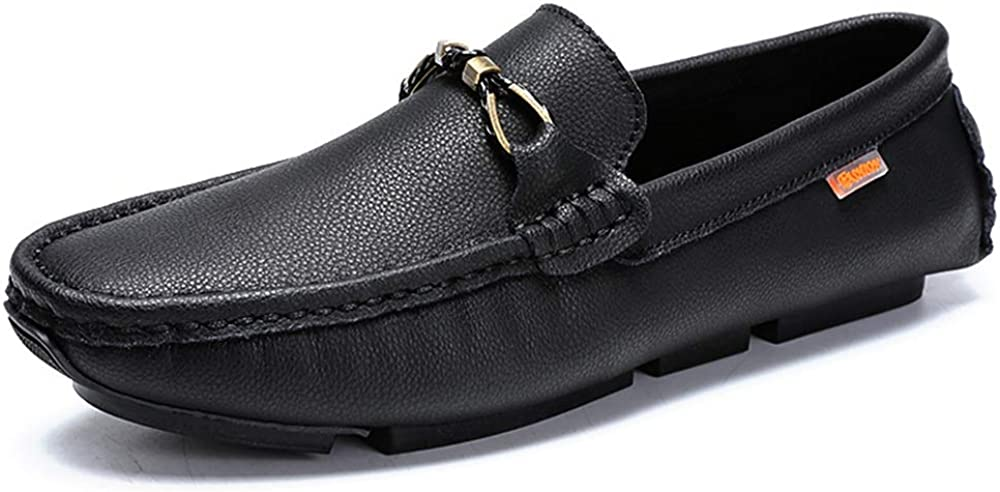 Durable Driving Loafer for Men Boat Moccasins Slip On Style OX Leather Metaldecor Low Top Solid Color