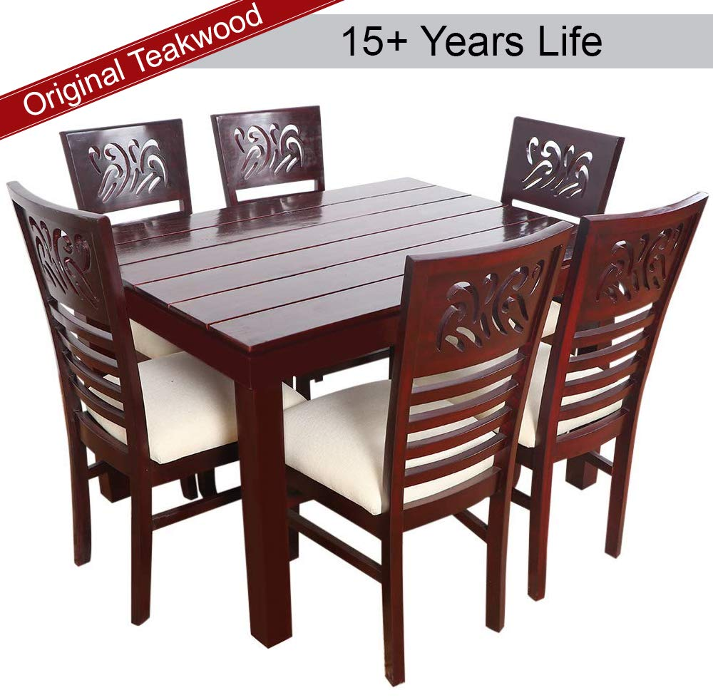 Furny montoya solid wood dining table set 6 seater teak wood at 37 off price