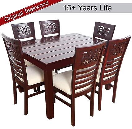 Furny Montoya Solid Wood Dining Table Set 6 Seater Teak Wood