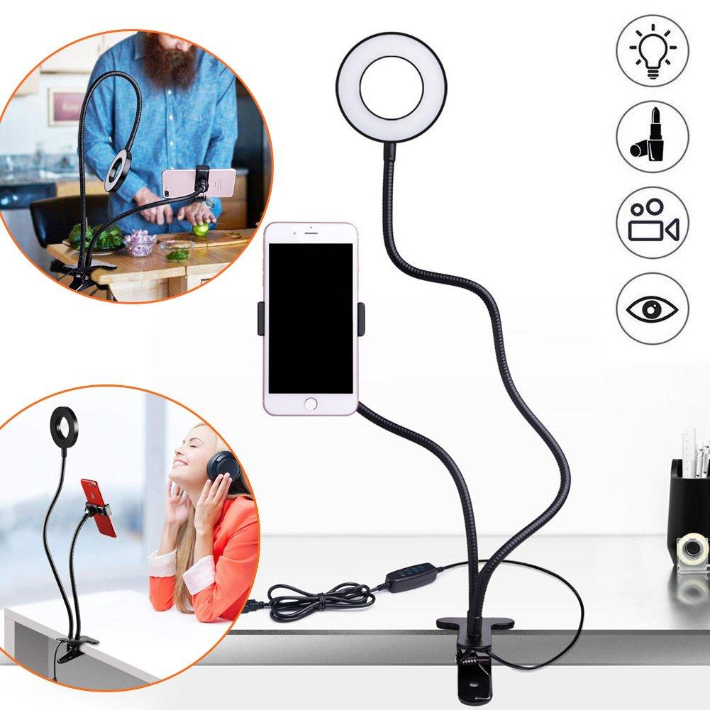 柔軟な電話standphone自撮りリングライトforライブビデオストリームメイクアップ電話スタンド – 3ライトモード10-level明るさのLED Lazyブラケットデスクランプキッチン、ベッドルームオフィス、バスルーム   B07F8PTG4F