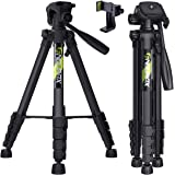 "Endurax 66"" Video Camera Tripod for Nikon Canon, DSLR Cameras Stand Tall Tripods Lightweight Aluminum with Universal Phone Mo"