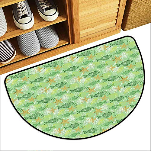 Custom&blanket Universal Door Mat, Fishes Indoor Doormats for Bedroom, Hand Drawn Basses Starfishes and Auger Seashell on Green Background Underwater Theme (Multicolor, H20 x D32 Semicircle)