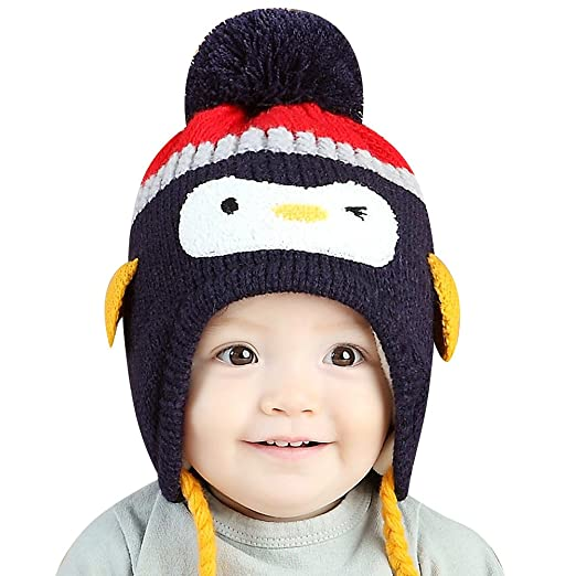 116666b4c6d Image Unavailable. Image not available for. Color  IMLECK Baby Kids Warm  Winter Cute Animals Little Penguin Hats ...