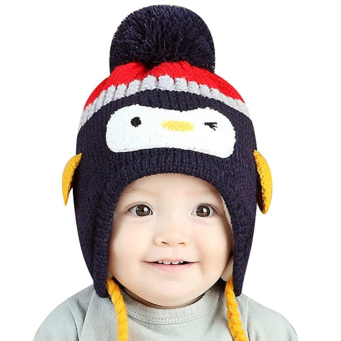 17435a0a Image Unavailable. Image not available for. Color: IMLECK Baby Kids Warm  Winter Cute Animals Little Penguin Hats ...