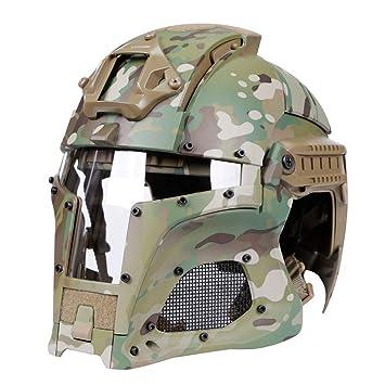 haoYK Casco de Deporte Multiusos con protección táctica Casco Airsoft Paintball Casco Vintage con Gafas Protectoras