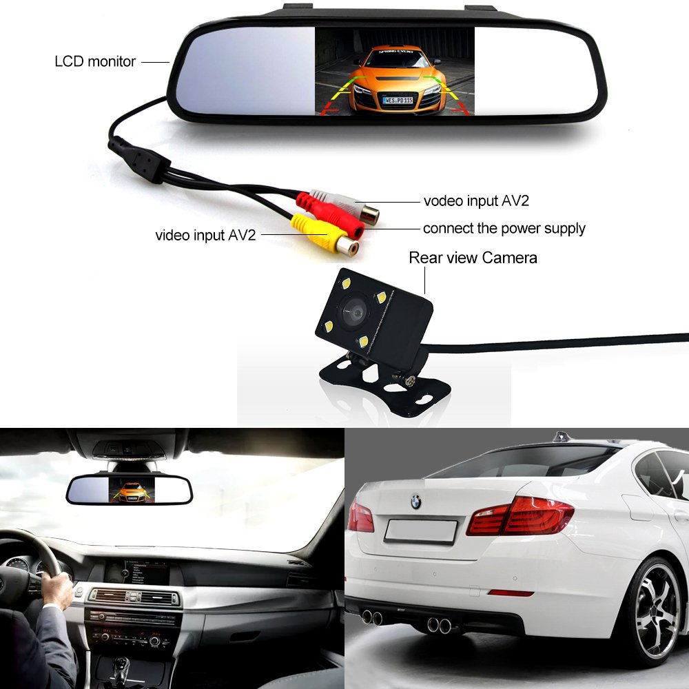Auto safety 4.3 Inch Rear View Mirror Monitor With LED Backup CCD Night Vision Camera Parking Kit