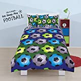 Todd Linens Kids 2 in 1 Reversible Quilt Duvet Cover and Pillowcase Bedding Bed Set Polycotton New colourful Designs (Football Champion Blue, Single)