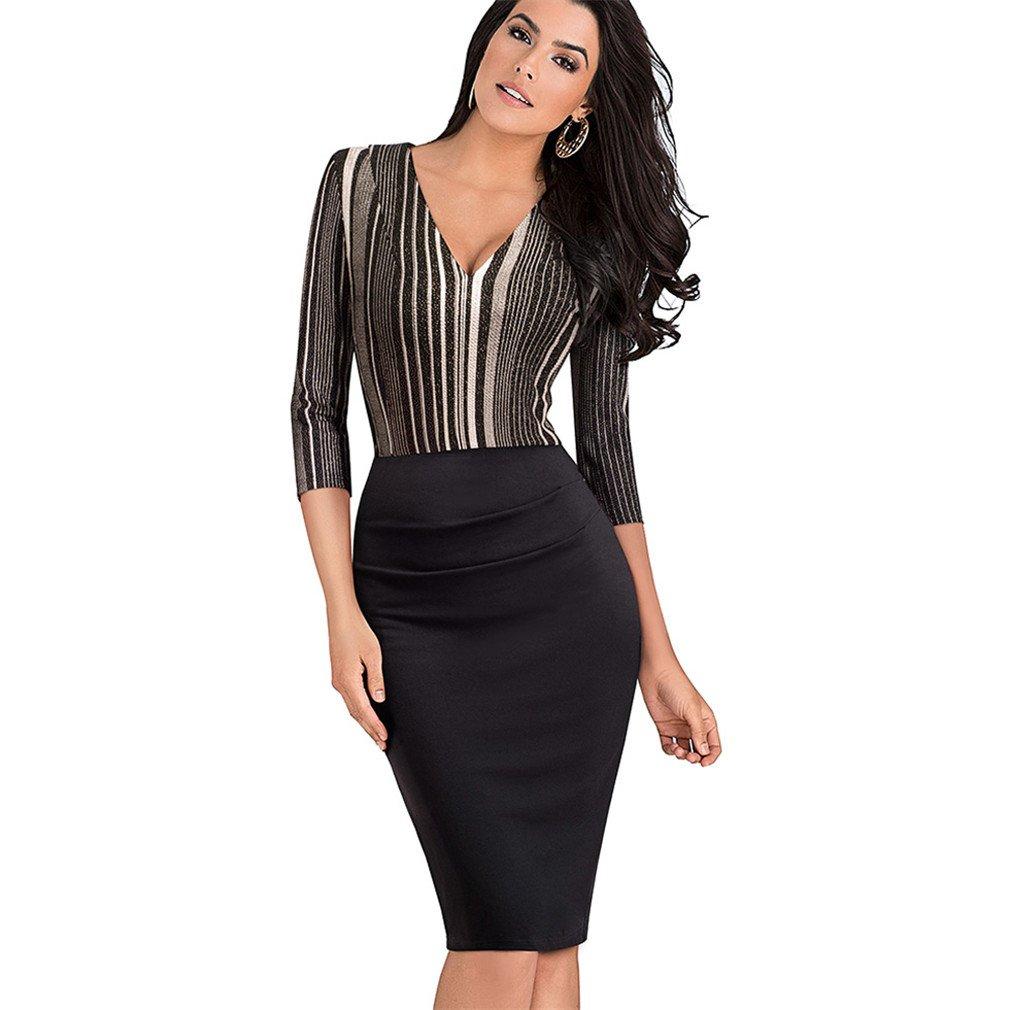 SHOR-DRESS Retro Striped Patchwork Sexy V-Neck Vestidos Bodycon Business Office Dresses For Women