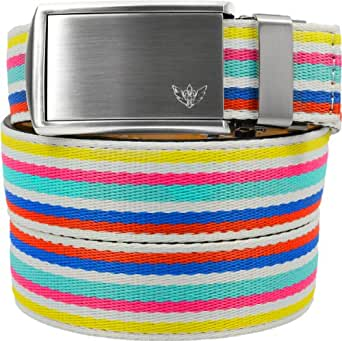 """SlideBelts Women's Canvas Belts - Birthday Cake with Winged Silver Buckle (Trim-to-fit: Up to 48"""" Waist)"""