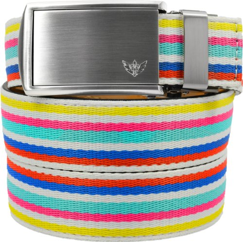 SlideBelts Women's Canvas Belts - Birthday Cake with Winged Silver Buckle (Trim-to-fit: Up to 48