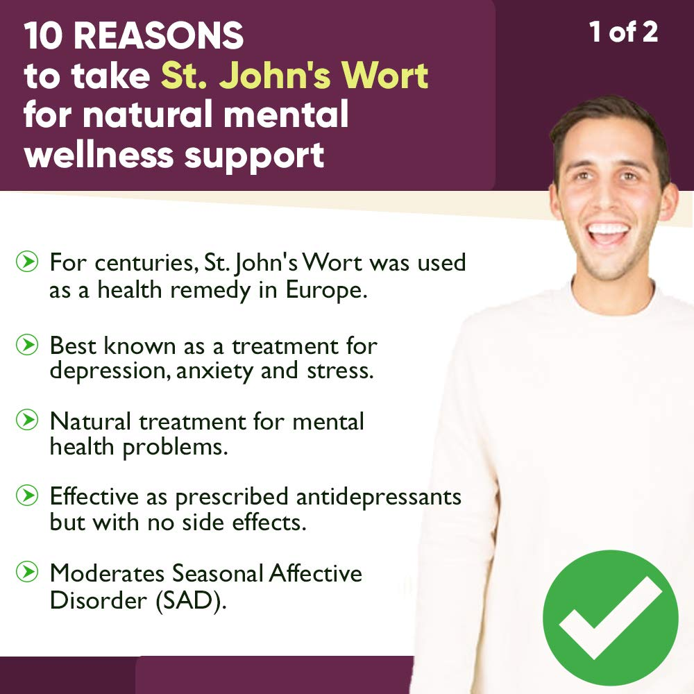 St.John\'s Wort 900mg Supplement-Natural Antidepressant for Mood Boost, Anxiety & Depression Support-Provides Extended Stress Relief-120 capsules, 450mg of St Johns Wort with 0.3% Hypericin per Capsule