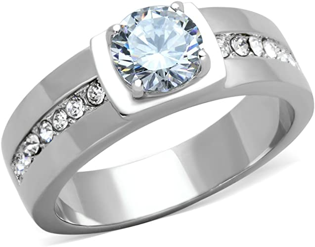 Stainless Steel Round Cut Cubic Zirconia Engagement Ring