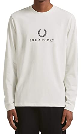 635d511c9 Fred Perry Embroidered T-Shirt Long Sleeve in Snow White (Small)  Amazon.co. uk  Clothing