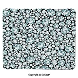 Gaming Mouse Pad,Silver Diamonds on Treasure Island Design Digital Prints Home Decorations Decorative,Water-Resistant,Non-Slip Base,Ideal for Gaming (7.87' x 9.44'),Black Blue