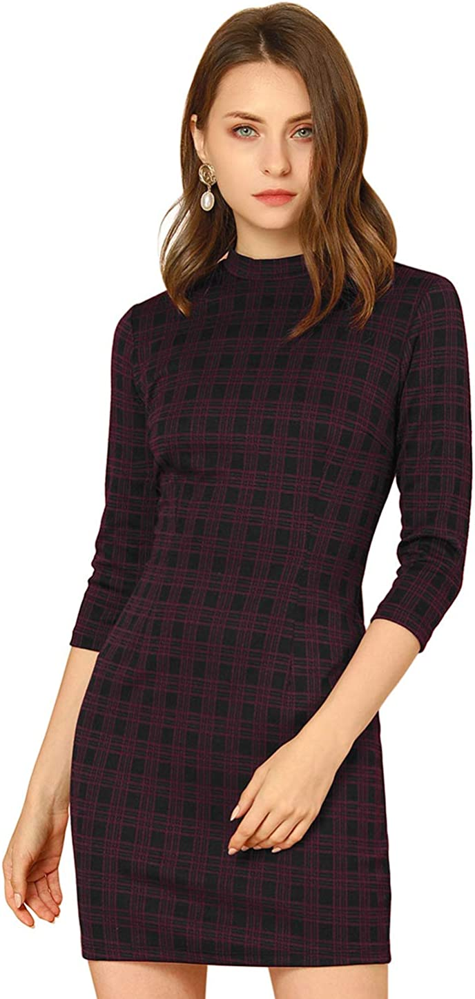 Allegra K Women's Mock Neck 3/4 Sleeve Slim Check Office Work Plaid Dress