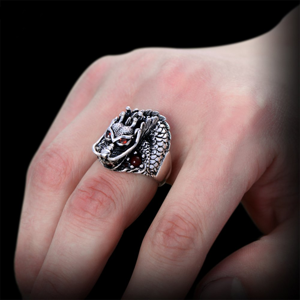 MetJakt Vintage 925 Sterling Silver Domineering Dragon Ring with Ruby Punk Rock Rings for Men's Fine Jewelry (12) by MetJakt (Image #2)