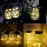 Solar Mason Jar Lights - SurLight Solar String Lights 6 Pack 20 LED Warm White Solar Jar Lights for Patio Yard Garden Decor, Fairy String Lights Fit for Regular Mouth Jars (Jars Not Included)