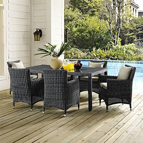 Modway Summon Rectangle Outdoor Patio Glass Top Dining Table, 70'', Espresso by Modway