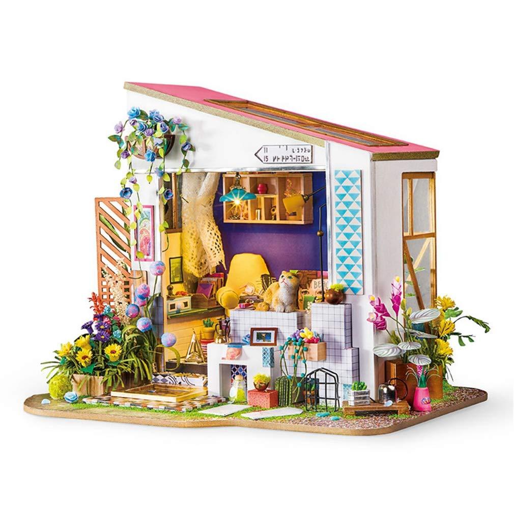 DIY Dolly Lily ' s Portico con mobili Bambini Adulti in Miniatura di Legno Bambola casa Modello di Costruzione Kit Giocattolo per Bambini Regali,Coloreful