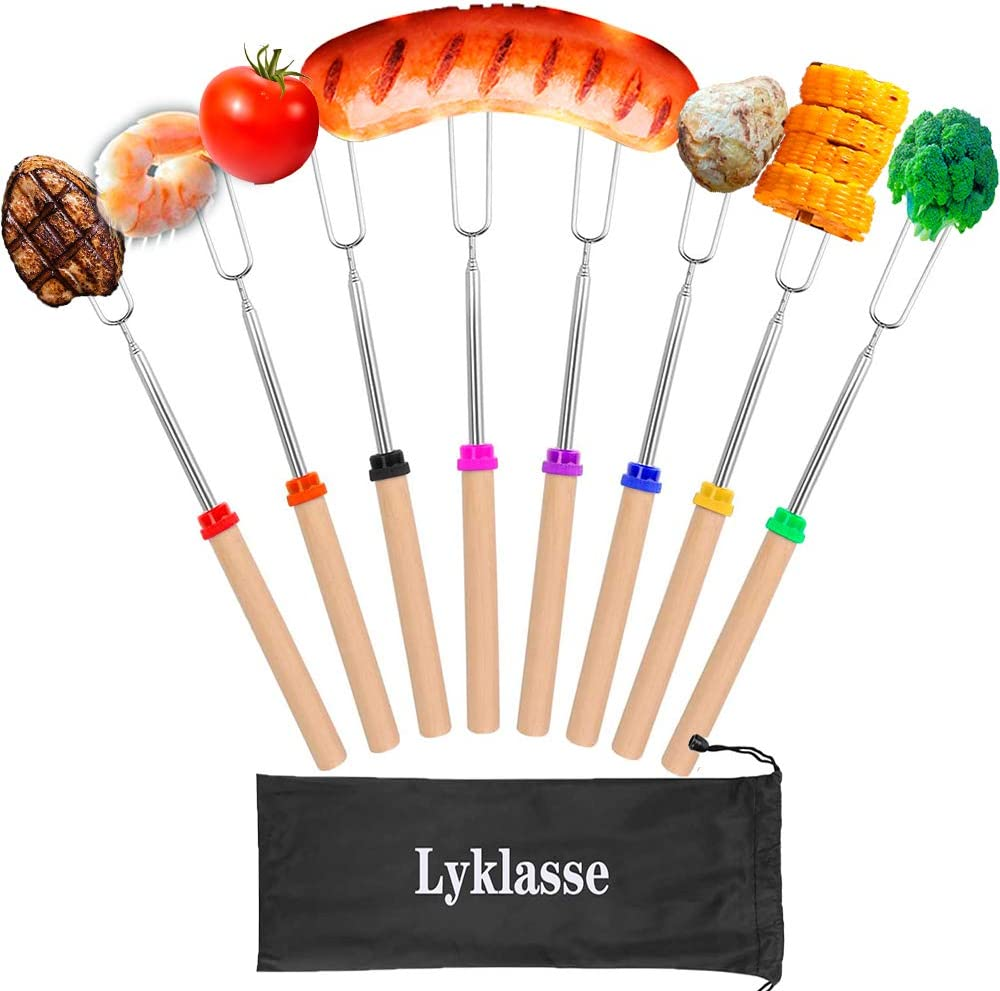 Lyklasse Marshmallow Roasting Sticks, 8PCS Forks Set Barbecue Forks with Wooden Handle Extendable Telescoping Smores Skewers for Fire Pit Campfire, BBQ Tools-32 inch (8PCS) : Garden & Outdoor