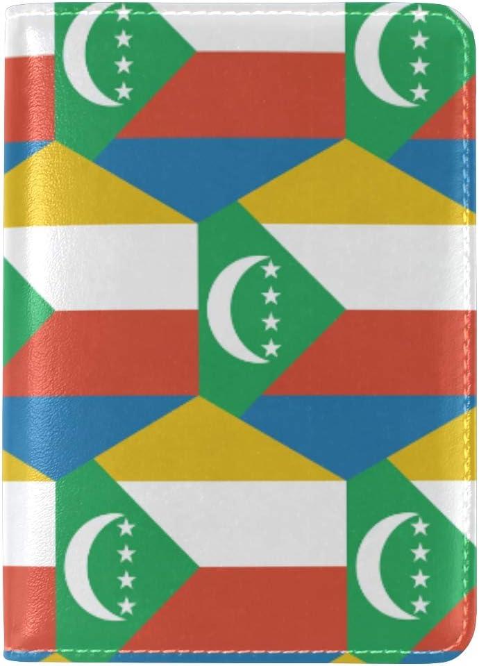 /Étui Passeport en Cuir pour Homme et Femme Motif Drapeau des Comores