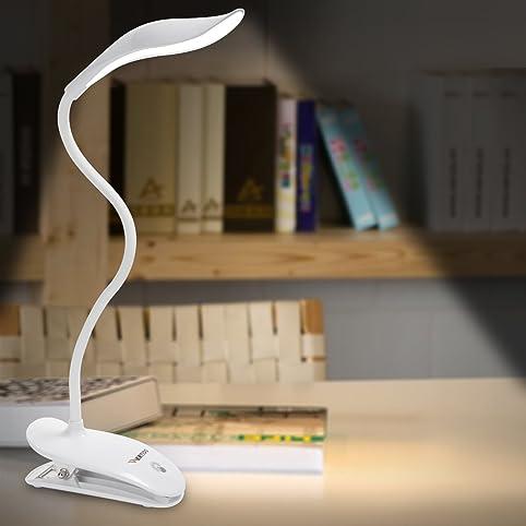 WERTIOO Leselampe Tragbare LED Klemmleuchte Schreibtisch Lampe, Folding USB  Leselicht360 Grad Mit Clip Schwanenhals 20