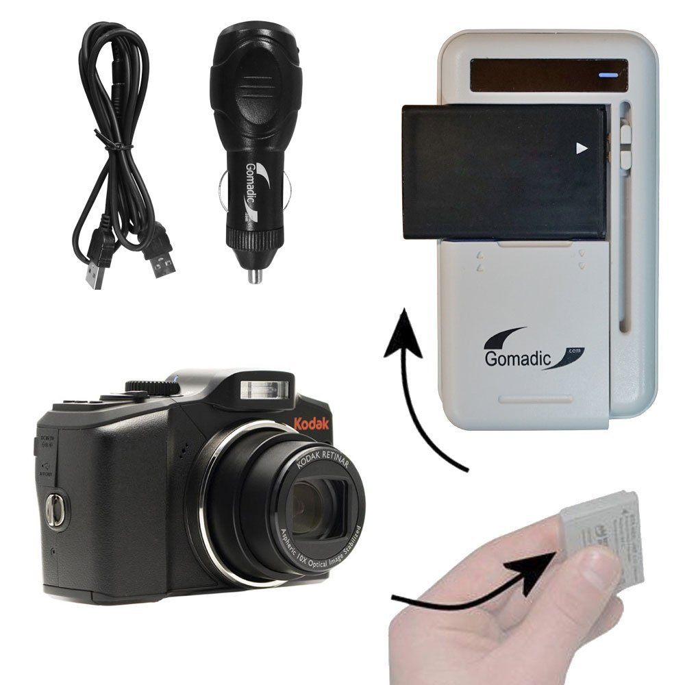 Battery Charger Kit Compatible with Kodak Easyshare Z915 – Contains multiple charging options, including AC Wall, DC Car and USB Port