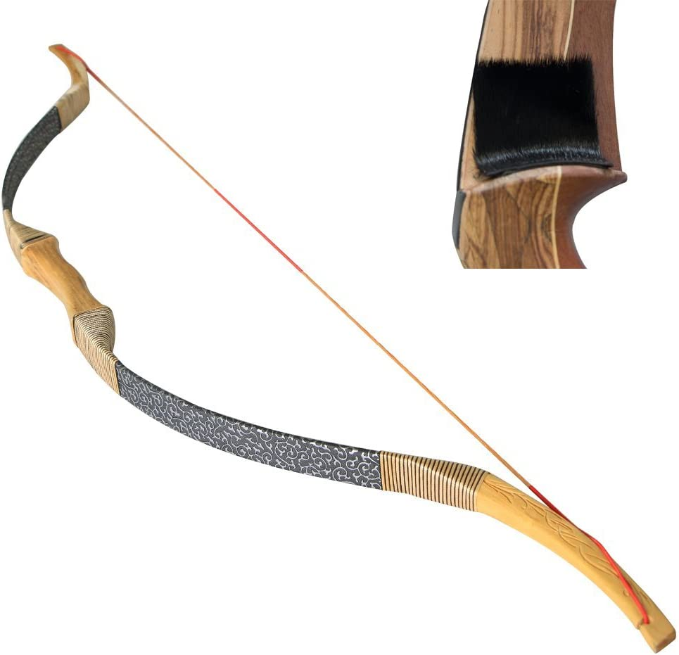 TOPARCHERY Traditional Recurve Bow 55 Archery Hungarian Style Longbow Horsebow 30-55 lbs