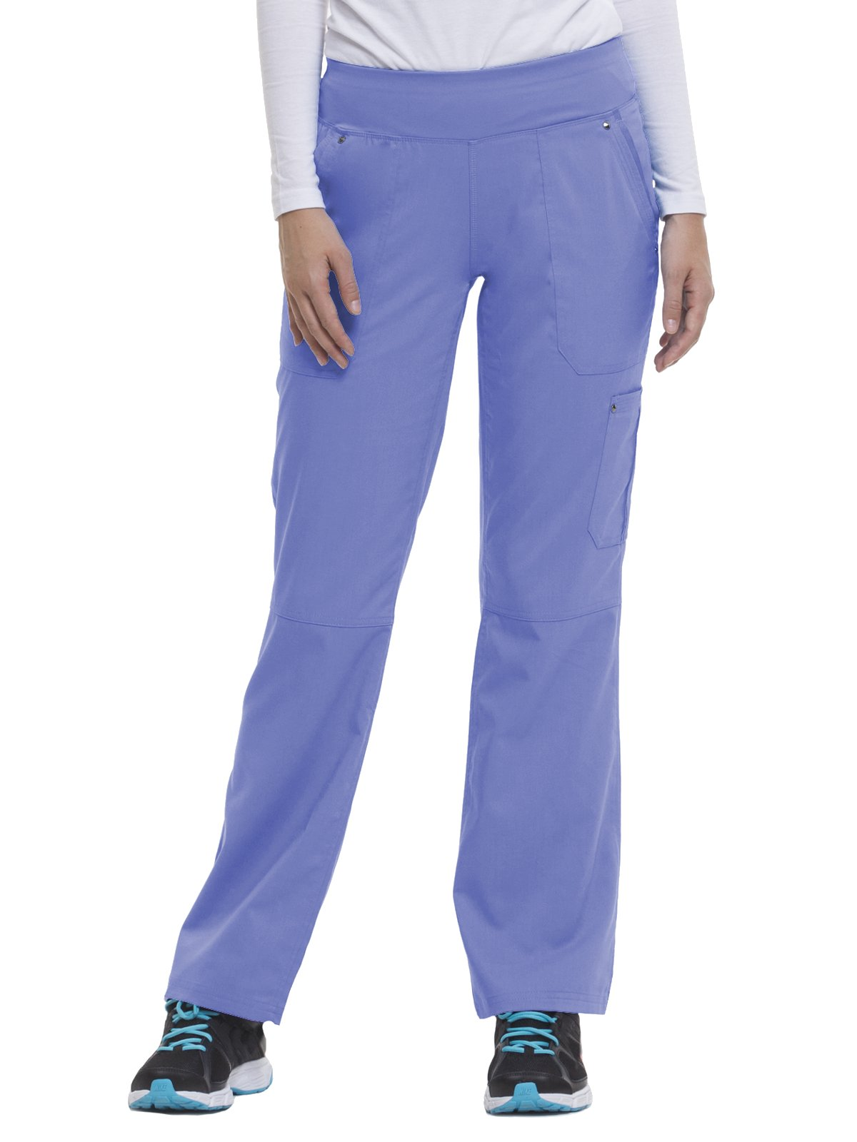 Purple Label by Healing Hands Scrubs Women's Tori 9133 5 Pocket Knit Waist Pant Ceil Blue- 3X-Large