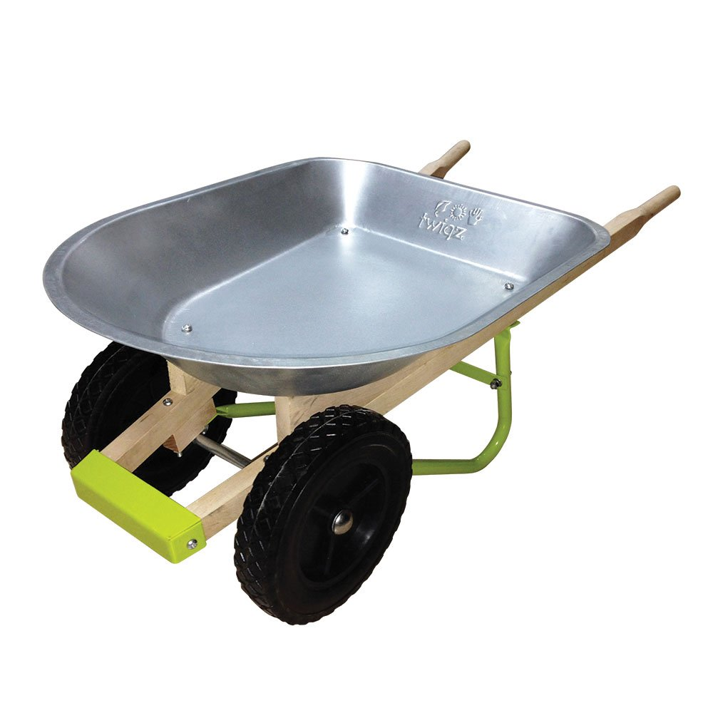 Twigz Kids Gardening Wheelbarrow With Unique 2-Wheel Design
