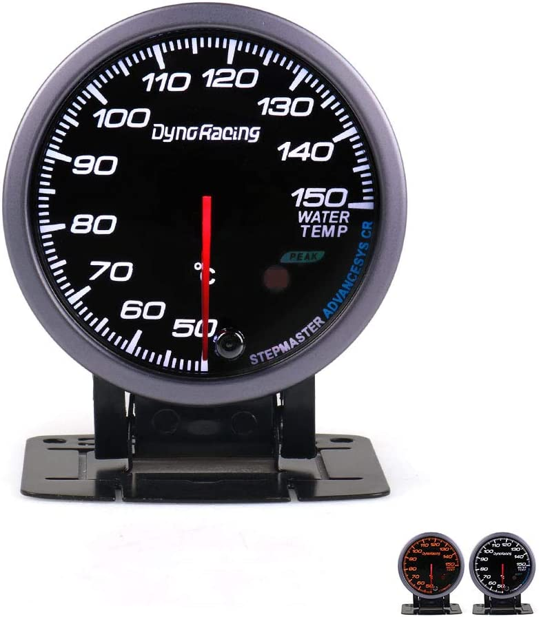 60MM Black Face Car Manometri temperatura dellacqua 50-150C Sensore di temperatura dellacqua con illuminazione bianca e ambra