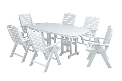 Beau POLYWOOD PWS125 1 WH Nautical 7 Piece Dining Set, White