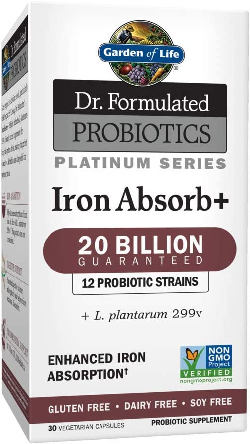 Garden of Life Dr. Formulated Probiotics Platinum Series Iron Absorb+ 20 Billion CFU One a Day Probiotic for Enhanced Iron Absorption (Not an Iron Supplement), Vegan, Non-GMO Gluten Free, 30 Capsules