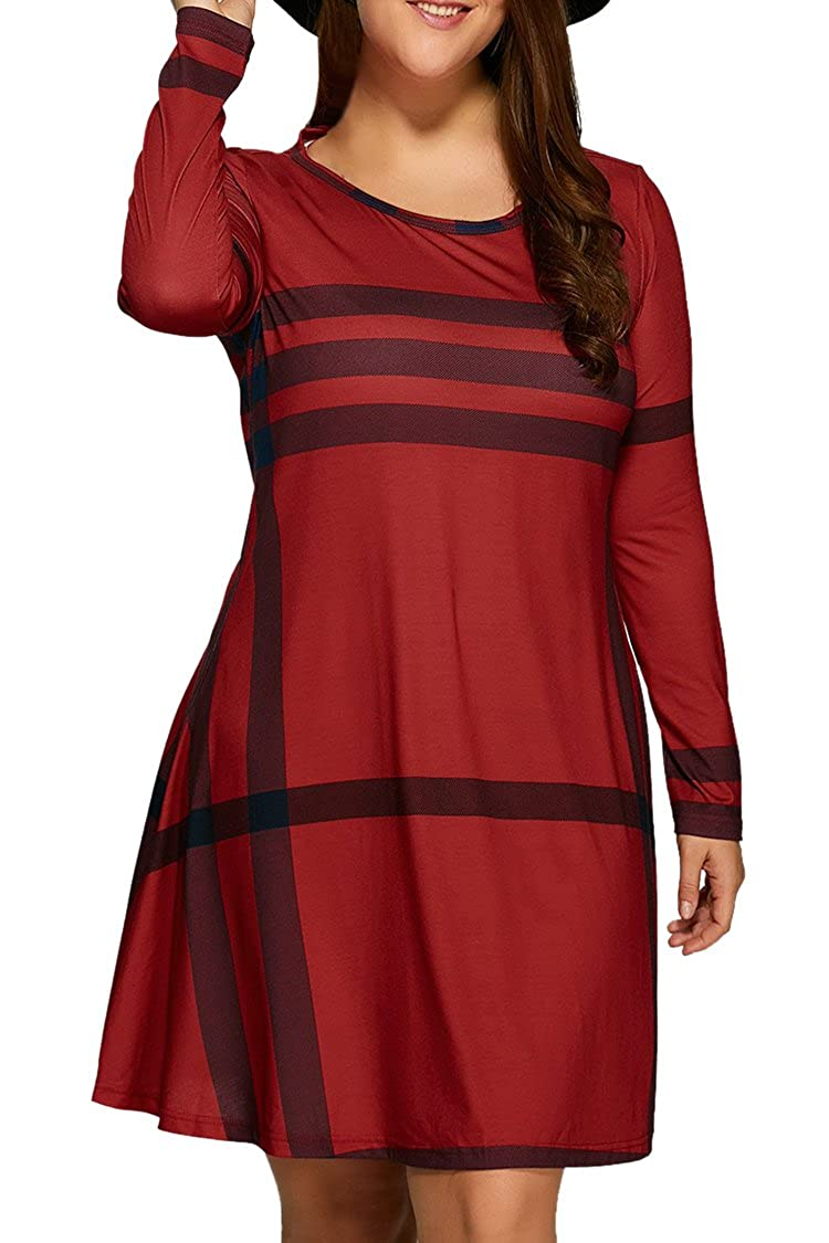 Pink Queen Women's Plaid Printed Plus Size Dress Casual T Shirt Tops JTPCD1902